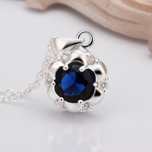 925 Sterling srebrny wisiorek z łańcuchy Rolo kobiety naszyjnik prezent duży niebieski cyrkon kamień okrągły kwiat tag naszyjnik dla kobiet
