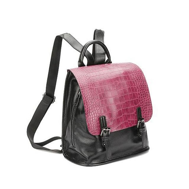 3b6180f80a89 2018new shoulder bag flip pu crocodile pattern backpack fashion trend Japan  and South Korea and Europe