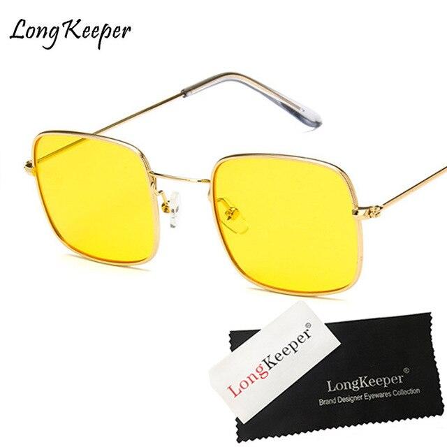 1480b33631 Long Keeper pequeño cuadrado Gafas de sol mujeres oro Metal marco amarillo  azul teñido rojo Gafas