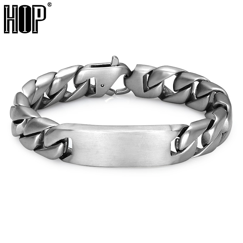 HIP 220*16MM Boys Chain Bracelet Biker Motorcycle Cool 316L Stainless Steel Curb Cuban Link Bracelets For Men Jewelry sda 24mm width punk 316l stainless steel bracelet men biker bicycle motorcycle chain men s bracelets mens bracelets