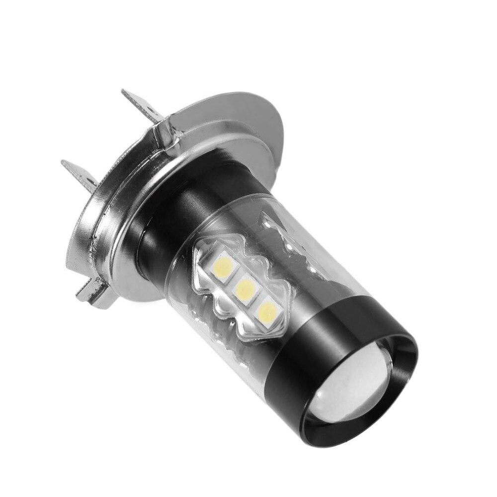2018 1 шт. 80 Вт H7 светодиодный лампы 16 SMD автомобилей туман свет DC 12 В ~ 24 В белый фар DRL Туман свет лампы поиска 1920lm Лидер продаж