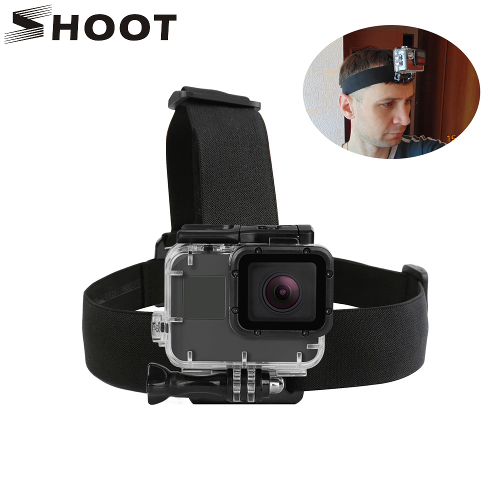 SHOOT Elastic Harness Head Strap for GoPro Hero 7 5 6 3 4 Session Sjcam Sj4000 Yi 4K Eken h9 კამერა Mount Pro Go 7 აქსესუარისთვის