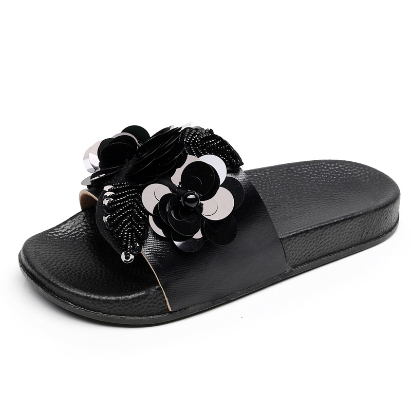 6b8147bb23 US $13.5 10% OFF|Gold Sliver Flats Slides Bling Summer Beach Slippers  Platform Casual Shoes Woman Slip On Creepers 3 Colors-in Slippers from  Shoes on ...