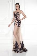 2015 neue Heiße A-linie U-ausschnitt Bodenlangen Tüll Abendkleid Mit Stickerei Lange Split Abend Formale Kleid F1430