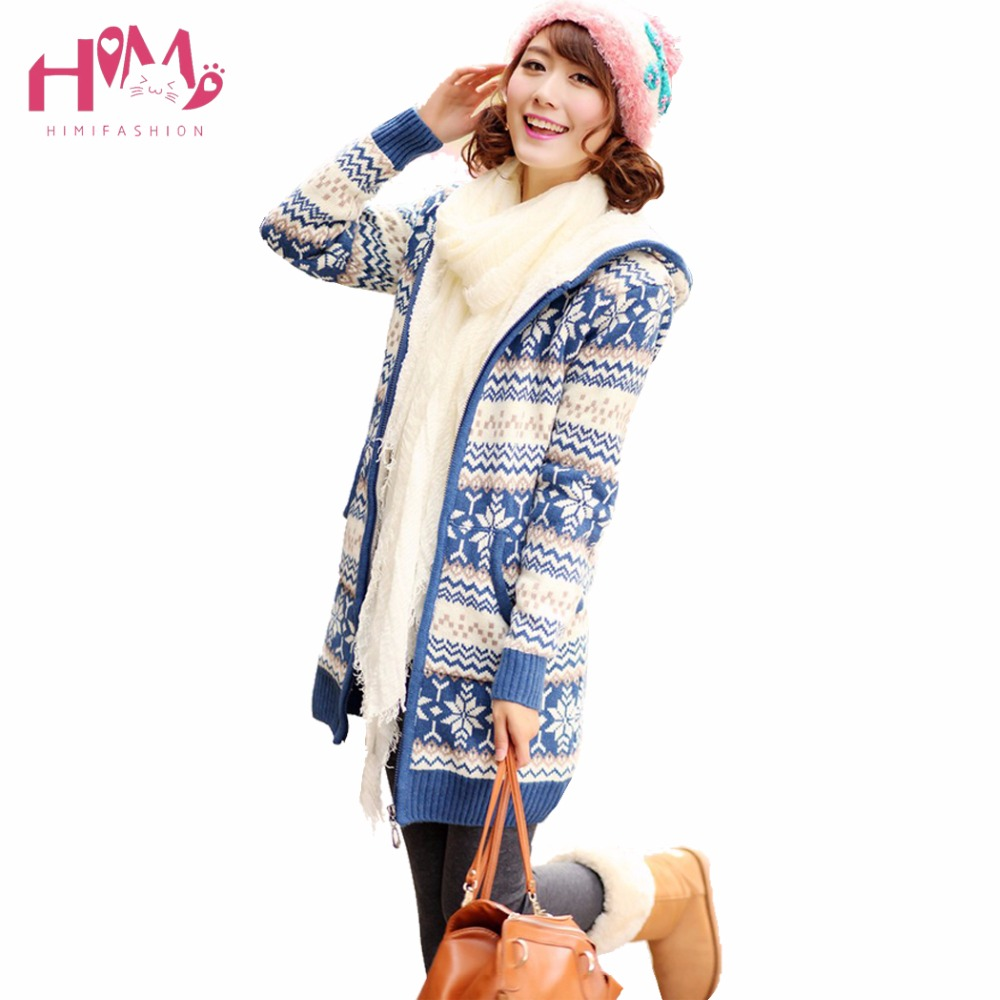 Christmas Winter Fashion Snowflake Knitted Coat Korean Hat Warm Cashmere Sweater Coat Plus Thick Cardigan Long Coat For Women