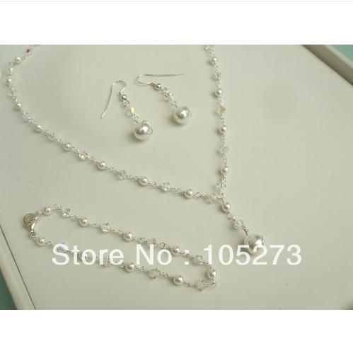 Ensemble de bijoux de mariée en gros perle naturelle AB cristal clair fait main 3-10 MM 18 ''collier 8'' Bracelet 925 boucles d'oreilles en argent