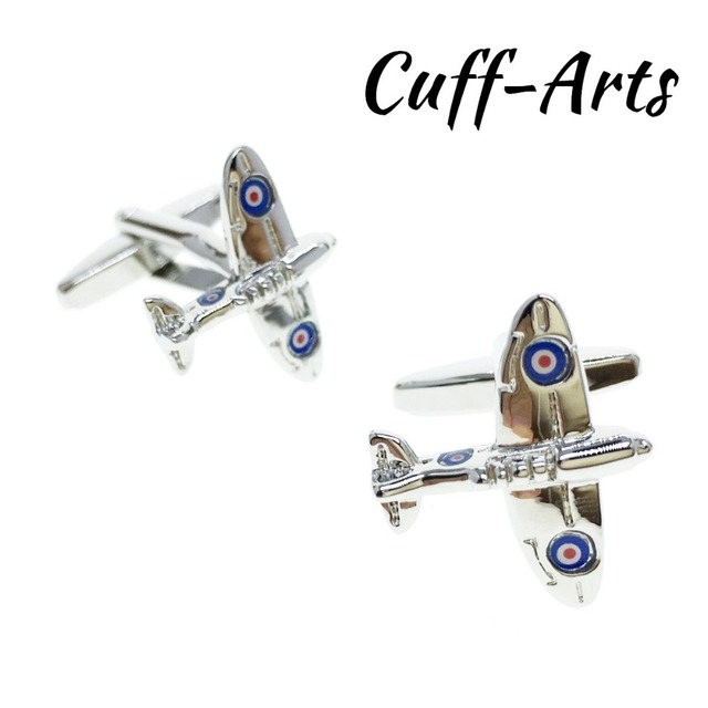 Cuffarts Spitfire Plane Aeroplane Aircraft RAF Cufflinks Gentleman 2018 Men  Gifts Novel Pins Women Dress Brooches C10155-in Tie Clips & Cufflinks from