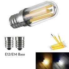 Мини E14 E12 светодиодный холодильник с морозильной камерой свет накаливания COB лампочки с регулируемой яркостью 1 Вт 2 Вт 4 Вт лампа Теплый/Холодный белый свет лампы освещение