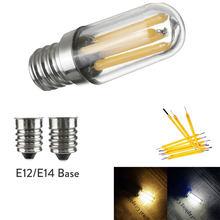 Mini E14 E12 LEVOU Frigorífico Congelador Luz Filamento COB Dimmable Lâmpadas 1 W 2 W 4 W Lâmpada Quente/ lâmpadas de Iluminação Branco frio