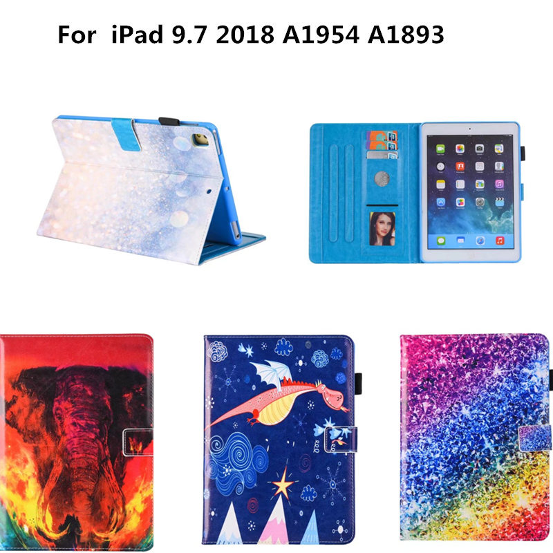 PU Leather Cute Smart Cover Stand Cartoon Case For Ipad 9.7 2017 Release For Kids Children For New iPad 9.7 2018 A1954 A1893
