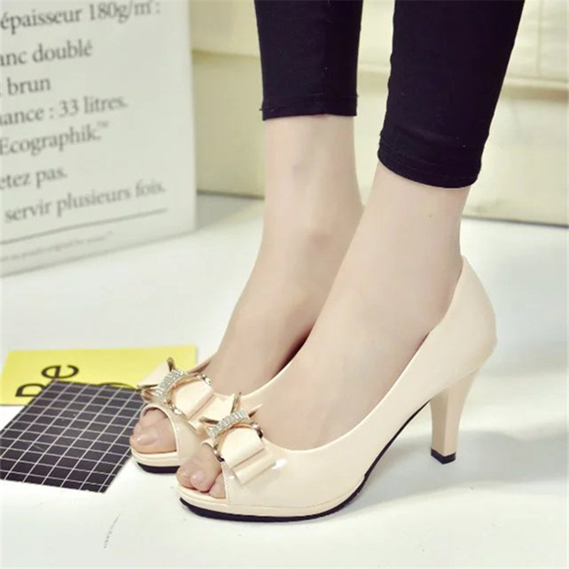 2017 summer new bow work girls singles shoes wild with fish mouth sandals female Korean version of shallow mouth shoes 16cm fine with high heels female korean version of the sexy thin bow shoes round head shallow mouth shop shoes