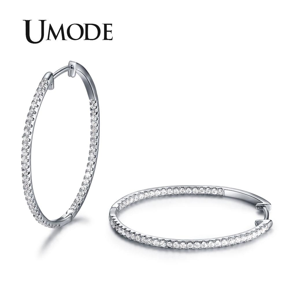 530762724445 UMODE nuevos pendientes de aro redondos delgados de diamantes de imitación  de cristal de moda para regalos de joyería de boda moda mujer UE0357