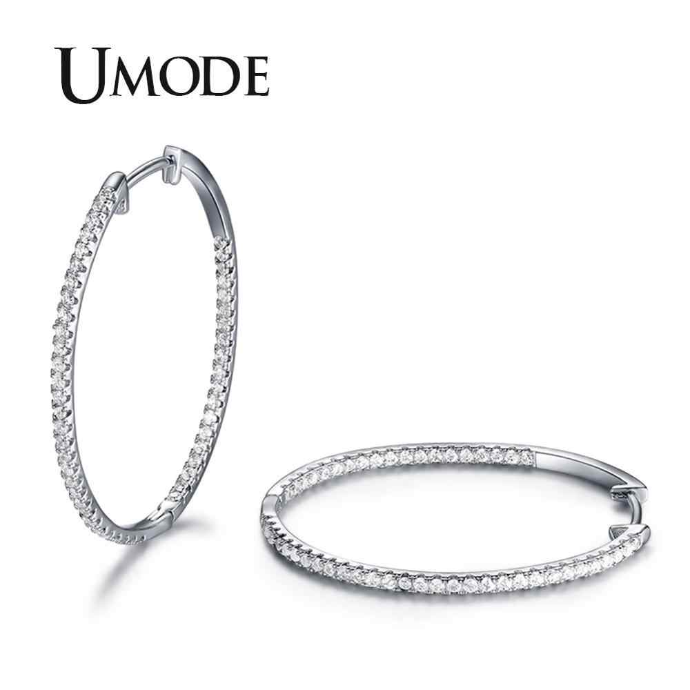 UMODE New Fashion Crystal Rhinestone Women Thin Round Hoop Earrings for Wedding Jewelry Gifts pendientes mujer moda UE0357