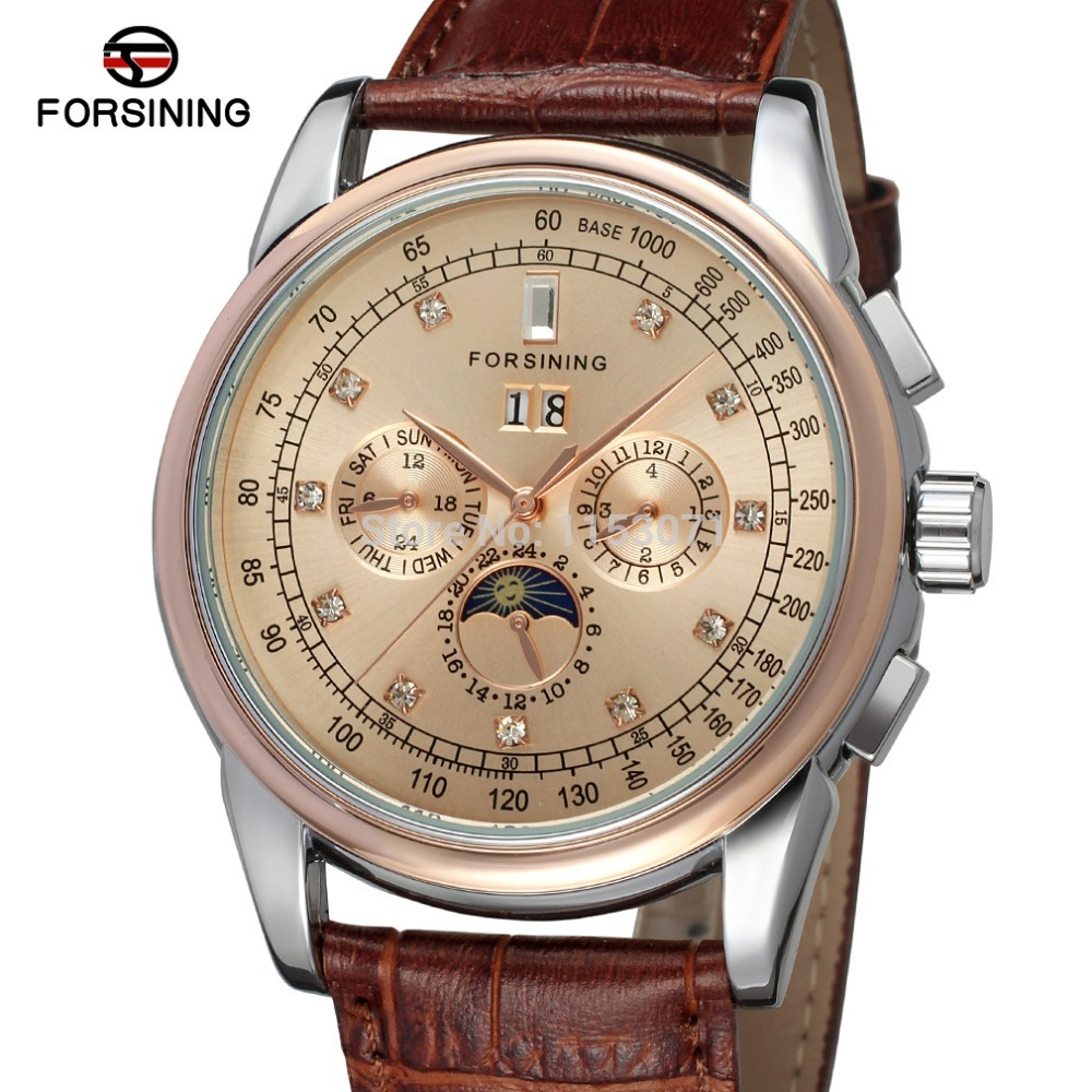 FSG319M3T5 Forsining Automatic self-wind dress champagne color wrist watch with moon phase for men watch with complete calendar ultra luxury 2 3 5 modes german motor watch winder white color wooden black pu leater inside automatic watch winder