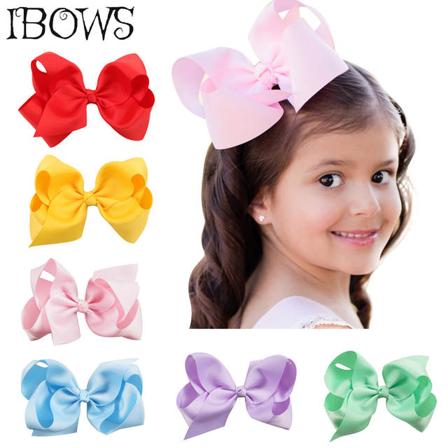 Online Shop 30colors 6 Sweet Solid Hair Bow Grosgrain Ribbon
