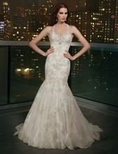 Halter 2016 Elegant Romantic robe de mariage Applique Tulle Button Bead Mermaid Bridal White Wedding Dress