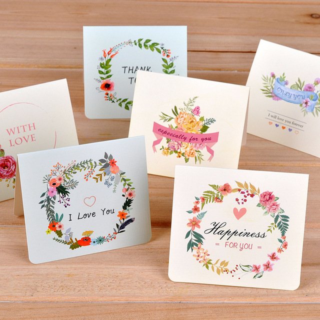 6pclot Creative Flower Universal Greeting Card Mini Holiday Card