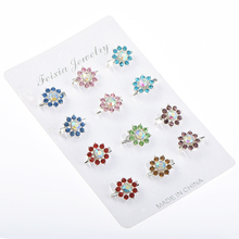12pcs lot Brooch pins for women wedding party casual dress small colorful crystal  brooches ladies ba30269365fd