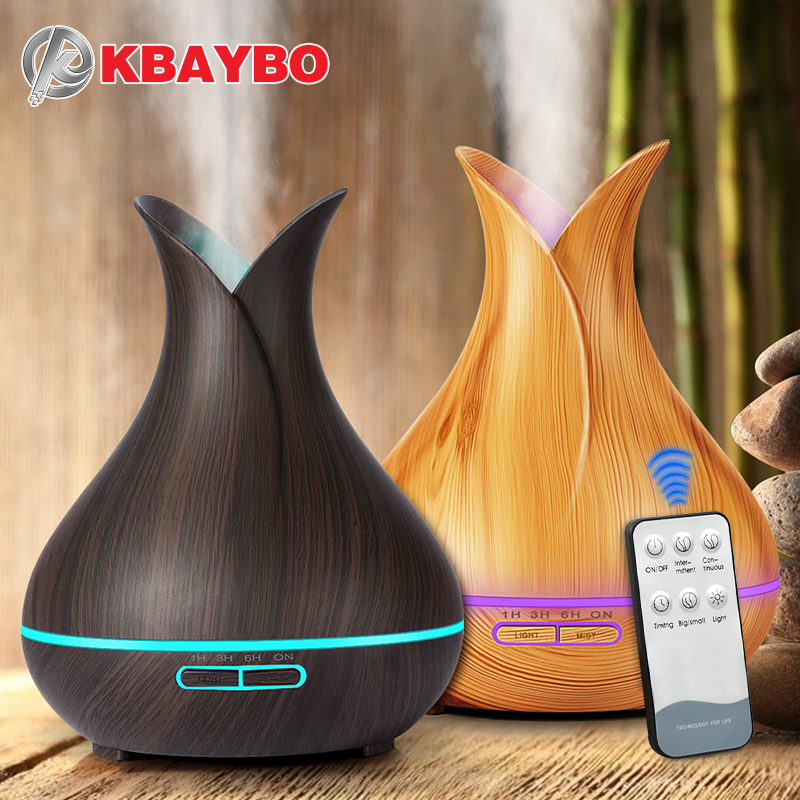 KBAYBO 400ml air diffuser electric Aroma Essential Oil Diffuser Ultrasonic Air Humidifier Wood Remote Control Mistmaker for home(China)
