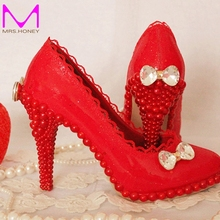 Spring Summer 2016 Red Lace Wedding Shoes Bridal Dress High Heels Shoes Platform Elegant Formal Dress Shoes Bridesmaid Shoes