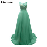 L Ivresse 2017 New Long A Line Green Tulle Beaded Evening Dresses Sexy Elegant V Back