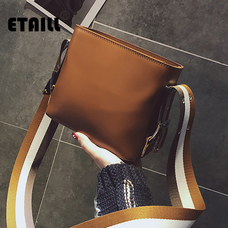 ETAILL Brand Designer Tassel Bucket Bag Women Smooth PU Leather Handbags Stripe Wide Strap Messenger Crossbody Shoulder Bag