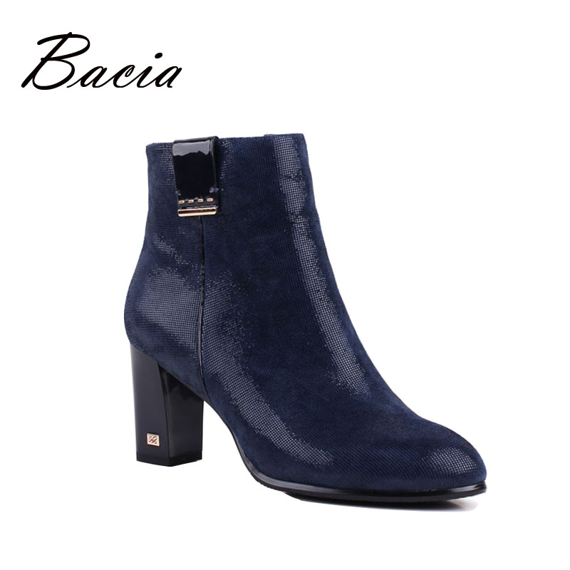 c514df050546 Bacia Shoes Women Boots Luxury Brand Ankle Boots Autumn High Heels Boots  Foil Sheepskin Leather Shoes Short Plush Shoes VB080