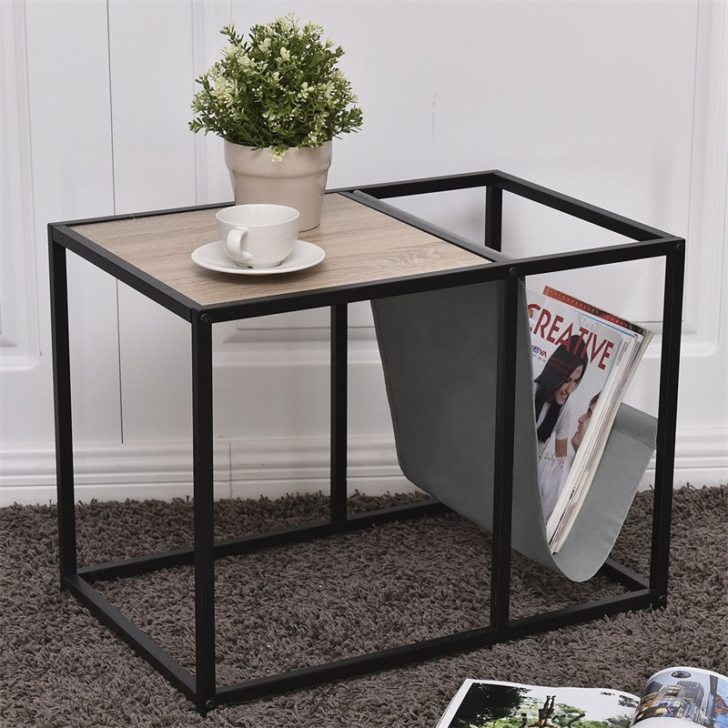 End Table Side Accent Metal Magazine Organizer Heavy Duty Steel Tubes Desk Beautiful And Versatile Book Organize Table HW56182
