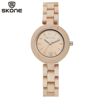 SKONE Wood Watch Women WristWatch Bracelet Watches Ladies Fashion Wooden Wristwatches For Lady Very Small And