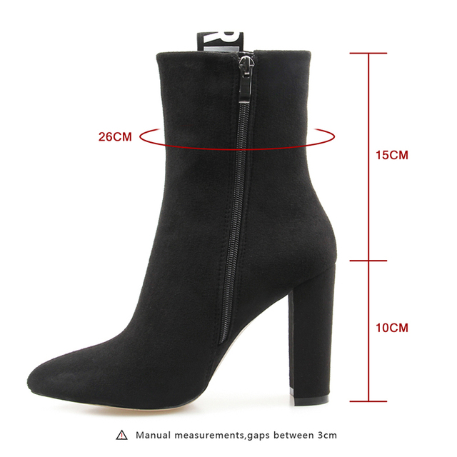 Perixir Faux Suede fashion Ankle Boots for Women Shoes Pointed Toe High Square Heel Botas Mujer Botte Femme 1