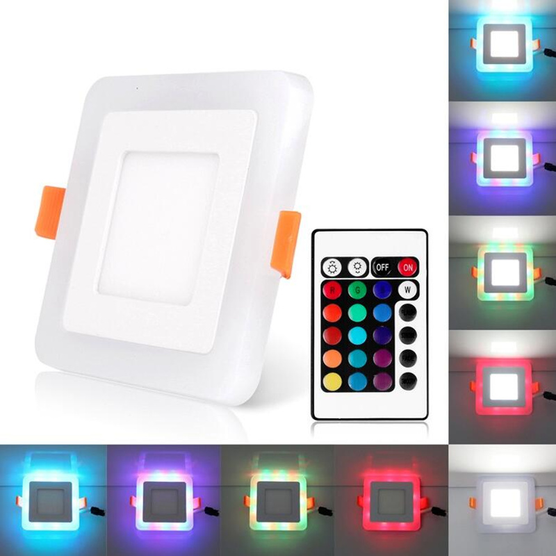 Square LED RGB Downlight + Remote Control Design 6W 9W 16W 24W LED Ceiling Panel Light AC110-220V With Led Driver