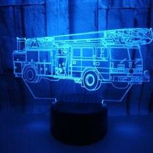 3D визуальная лампа Оптическая иллюзия светодиодный ночной Светильник восхитительный 7 цветов художественная пожарная машина сенсорный выключатель лампа Прямая поставка