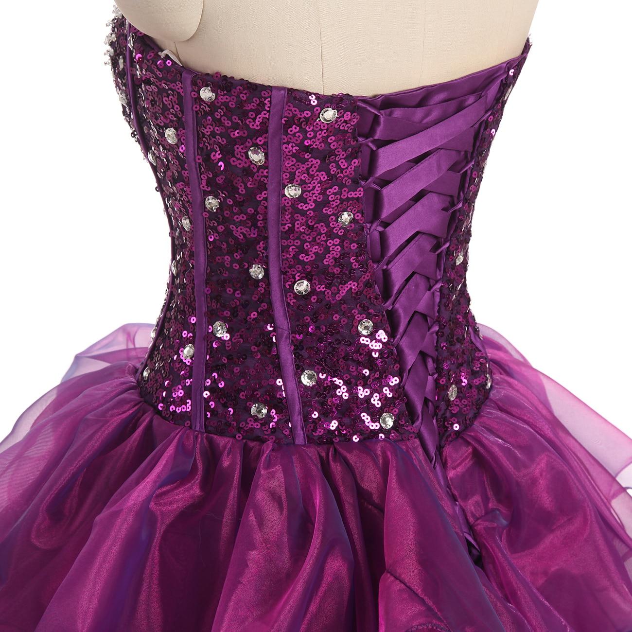 2017 nieuwe sweetheart paarse jurken organza sweet 16 jurken - Jurken voor bijzondere gelegenheden - Foto 3