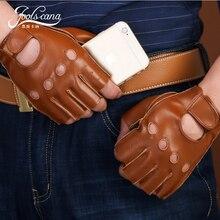 Joolscana spring Mens Genuine Leather Fingerless Gloves Black brown Half Finger gym Workout Fitness Driving Male Gloves fall