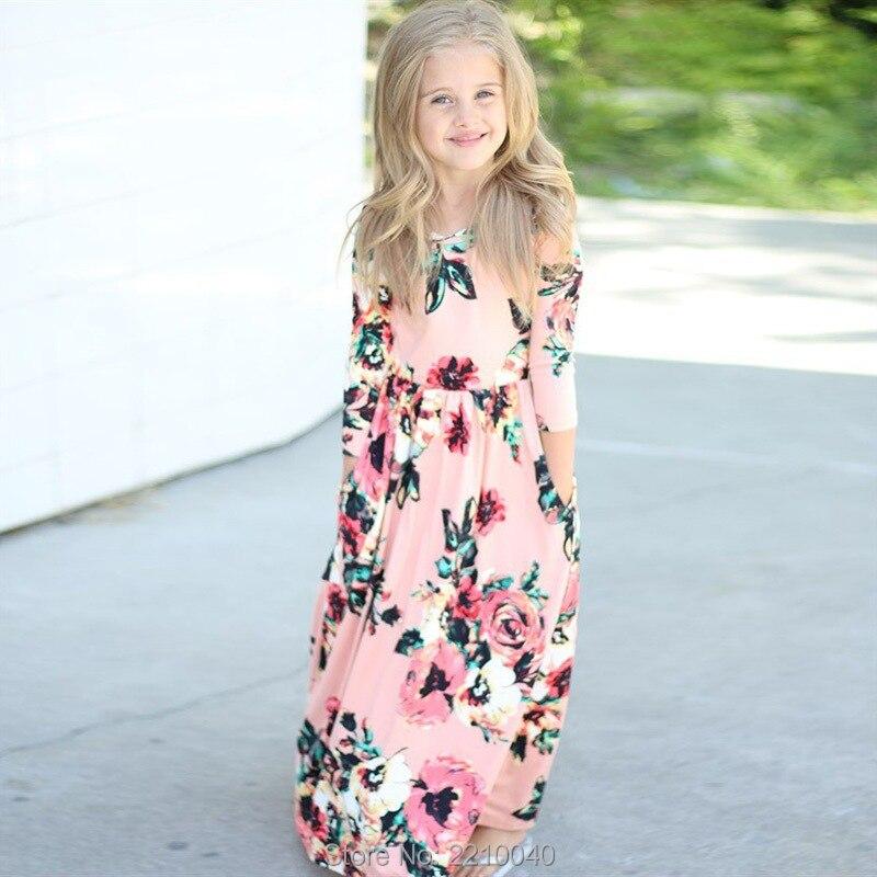 Kid Flower Girls Long Sleeve Maxi Dress