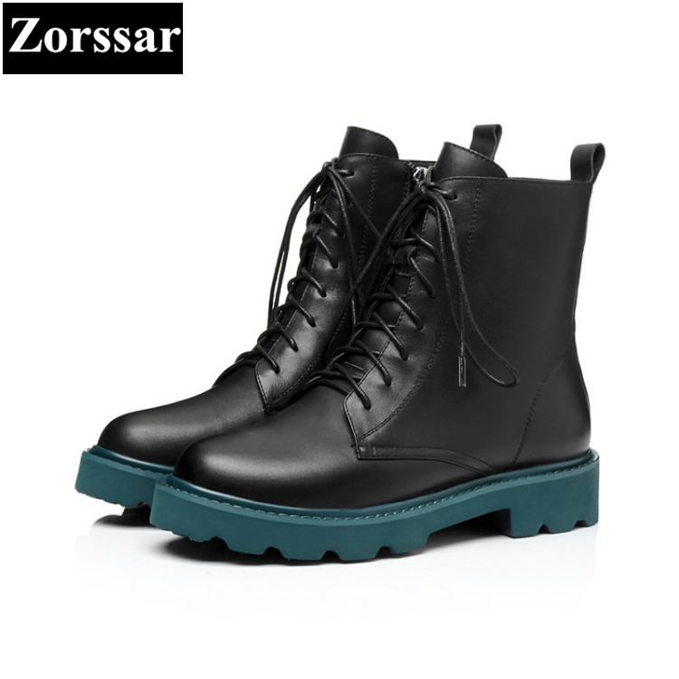 {Zorssar} 2018 NEW fashion lace up Mid heel short boots Genuine leather women ankle Martin boots autumn winter women shoes zorssar 2018 woman fashion genuine leather ankle martin boots female slip on flat heel casual short shoes spring autumn shoes