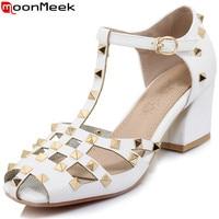 MoonMeek black white fashion summer shoes woman rivet buckle elegant women high heels sandals square heel big size 33 43