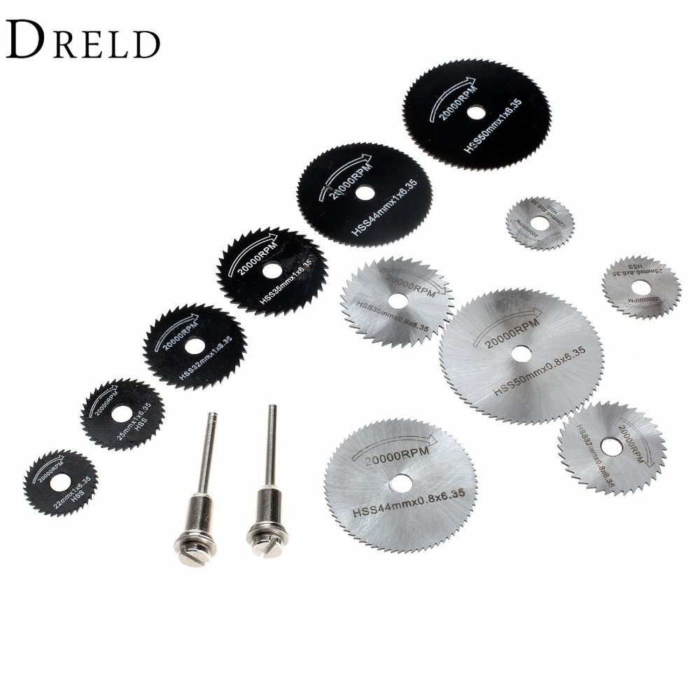 DRELD 14Pcs Dremel Accessories HSS Mini Circular Saw Blades Wood Cutting Disc Grinding Wheel Set for Rotary Woodworking Tools goxawee saw blades for dremel tools accessories 36pcs lot resin cutting wheel disc with 2 pcs mandrels for dremel rotary tools