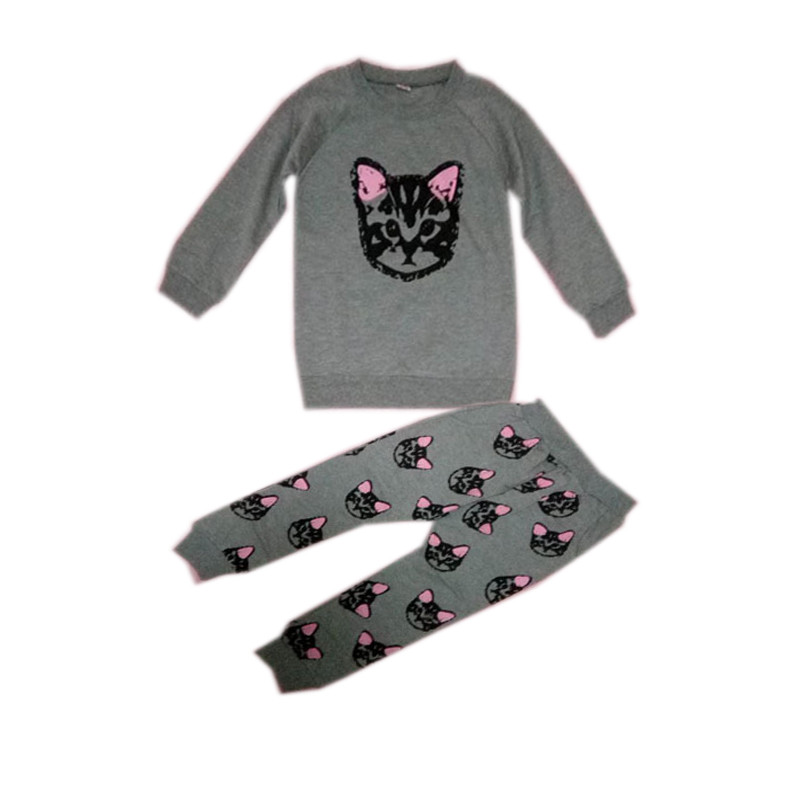 Spring Kids Clothes Sets Cotton Cute Cat Full Sleeve Shirt Pants Baby Girl Clothes