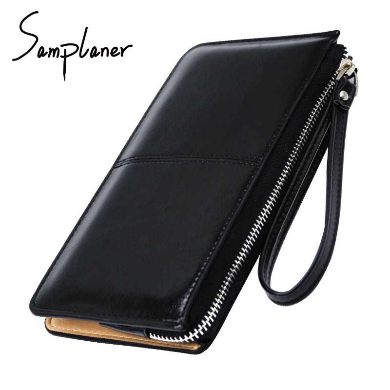 Vintage Zipper Clutch Bag For Women Long Wallets Purse Candy Oil Wax Leather Ladies Cards Money