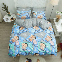 Japanese anime Crayon Shin chan bedding sets duvet cover Bed Linen pillow cases comfortable plaid bed sheets for Children
