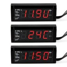 Автомобиль 3 в 1 Цифровой Авто термометр + Авто вольтметр Напряжение метр тестер Мониторы + ЖК-дисплей Дисплей часы Лидер продаж cy697-cn
