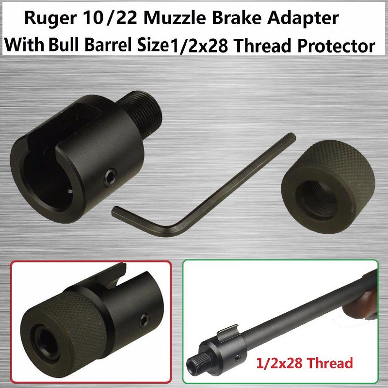 Barrel End Threaded Adapter 1/2x28 For Ruger 10/22 Thread Adaptor With Knurled Steel Thread Protector 1/2-28 Thread