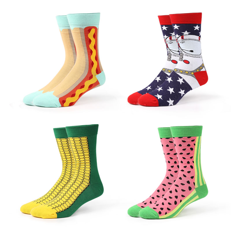 VVQI cool socks watermelon novelty harajuku cartoon mens fashion women art socks Alien Hot dog hip hop cotton mens dress socks