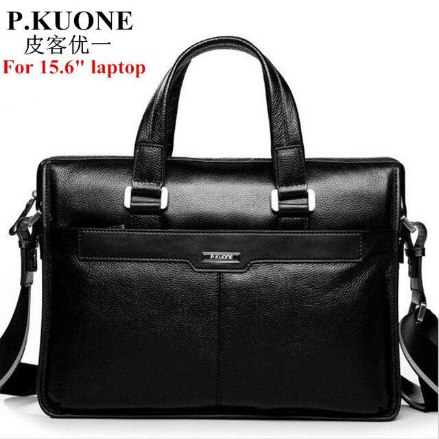 100% Guarantee Natural Cow Leather Brand men handbags men s shoulder  messenger bags 15.6