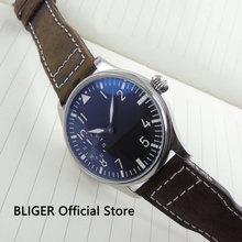 Fashion 44MM Black Sterile Dial Polished Stainless Steel Case Luminous Pointer 6497 Hand Winding Mov