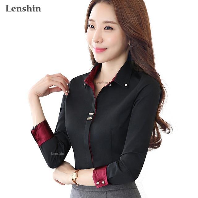 6e55f64541d Lenshin отложной воротник осенняя одежда с длинным рукавом женская черная  блузка рубашка Женский Повседневный стиль элегантные