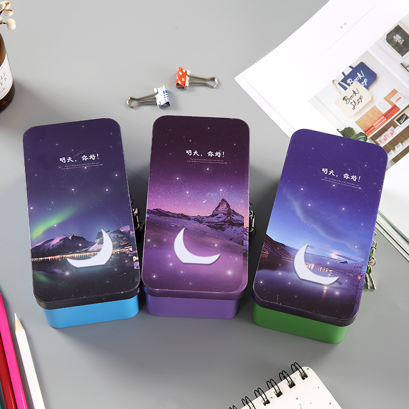 Coloffice Large-capacity double-layer pencil case pencil bag creative star moonlight storage box tin thickening case with locked
