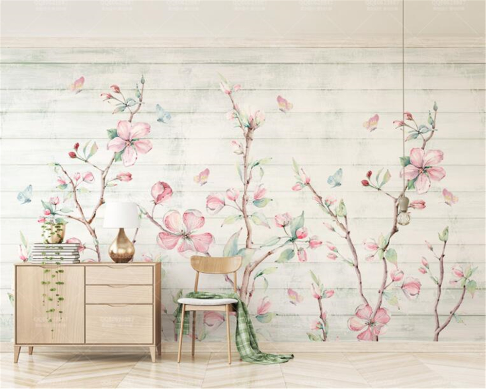 Best Wallpaper Butterfly Hand - Beibehang-Custom-wallpaper-Fresh-watercolor-cherry-wood-grain-butterfly-hand-painted-floral-TV-background-wall-3d  You Should Have_32758.jpg