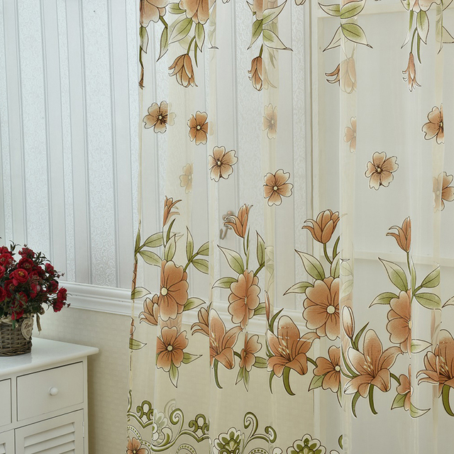 Curtains Sunflower Printed Voile Door Window Balcony Sheer Screening Green Pink Blinds Big Sale
